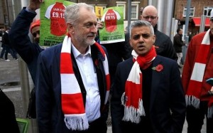 Sadiq Khan, right, with Jeremy Corbyn, leader of the Labour Party