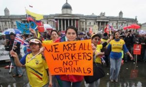 migrant workers protest Trafalgar Square