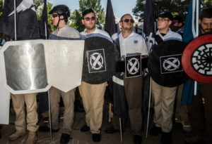 "Neo-Nazi ""Vanguard America"" contingent in Charlottesville; James Alex Fields (3d from left) is wearing khaki pants and sunglasses."