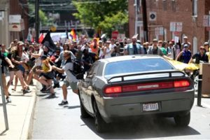 Car that struck Heather Heyer plowing into Charlottesville counter-demonstration.